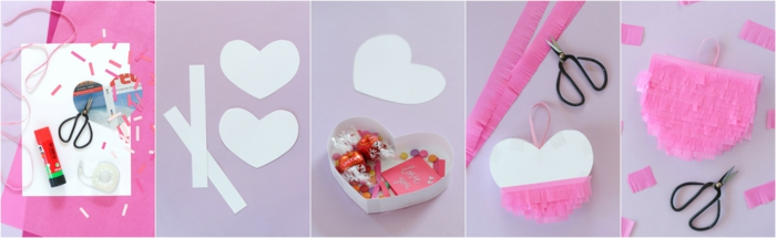 Pinata Herz selber machen und mit Süßigkeiten und Karte füllen, DIY Geschenkidee zum Valentinstag