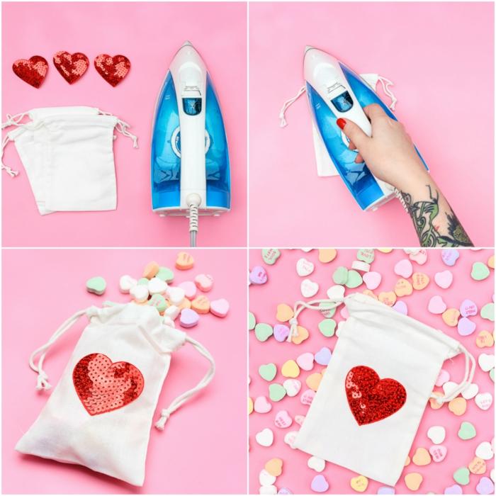 DIY Geschenkidee zum Valentinstag, rotes Herz aus Pailletten auf weißes Säckchen kleben, mit Bonbons füllen