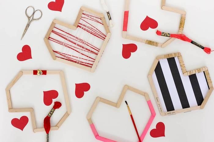 ausgefallene geschenkideen zum selber machen die reste vom lieblingseis holzstäbchen zu herzdeko gestalten ideen
