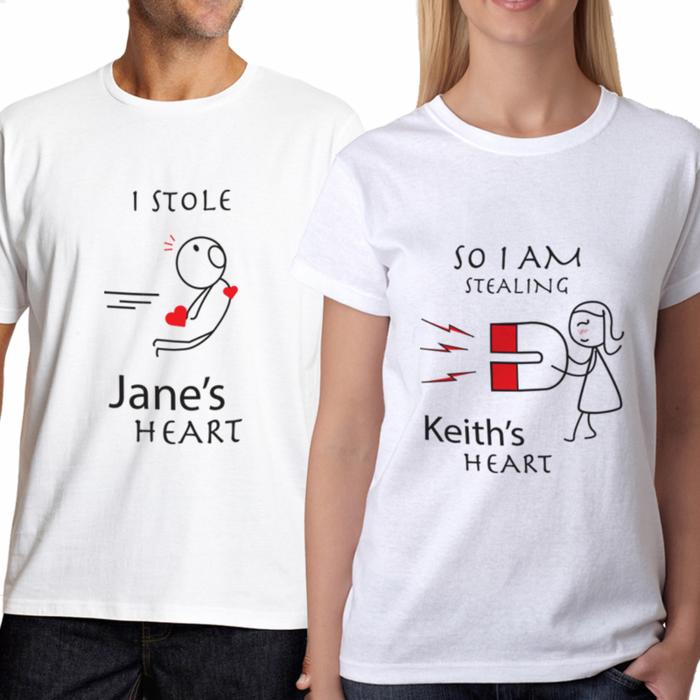 Coole Geschenkideen zum Valentinstag, Shirts für Paare mit lustigen Aufschriften und Bildern