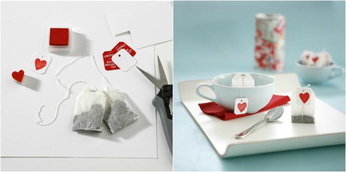 Romantisches Frühstück zum Valentinstag, Anhänger mit kleinem Herzen, Tee servieren, schöne Überraschung