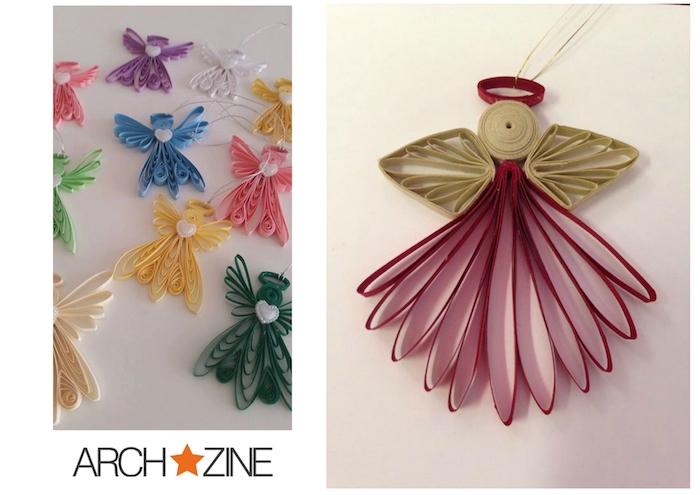 bilder mit diy quilling engeln -engel aus papier basteln - gelbe, grüne, pinke, violette engel