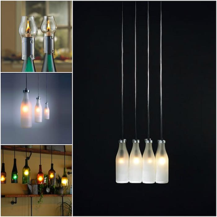 vier bilder mit vier weißen hängelampen aus flaschen - zwei grüne glasflaschen und kerzen - lampen selber machen