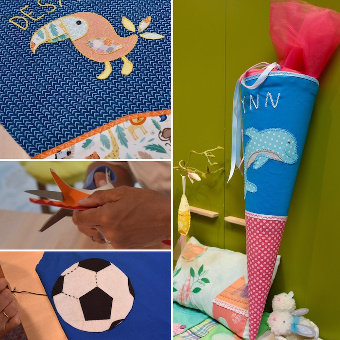 ein kinderbett und eine schultüte mit einem fußball, vogel und einem blauen delfin - schultüte basteln