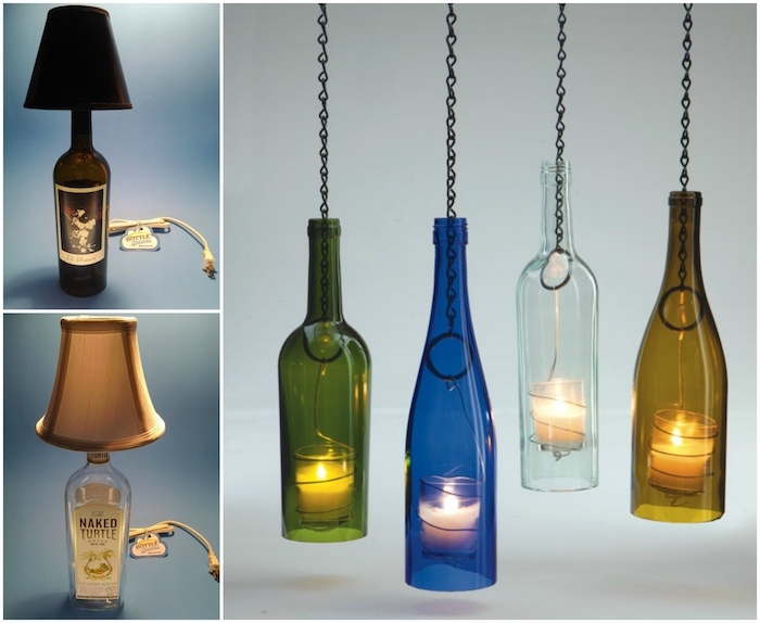 drei bilder mit diy lampen - hängeleuchten mit kerzen und aus grünen, blauen, braunen und durchsichtigen glasflaschen