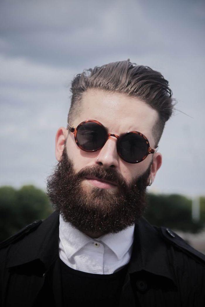 männer mit bart interessanter look mann mit langem bart brille haare ideen hemd und jacke blazer ideen