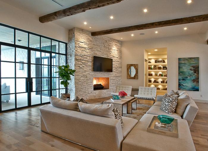 Wandverblender aus Naturstein an dem Fernsehwand, Deckenleuchte, Wohnzimmer nach Feng Shui