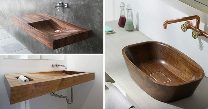 drei Modelle von Badbecken aus Holz, Wasserhahn mit Kupferüberzug, zwei Glasflaschen für flüssige Seife