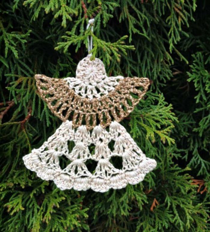weihnachtsengel basteln engel aus draht selber machen crochet engel anleitung weißer gold engel weihnachtsbaum deko