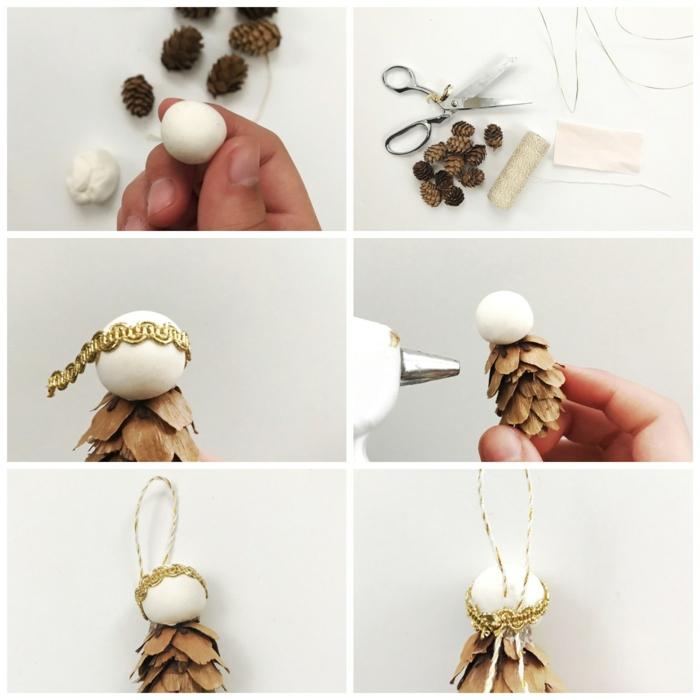 weihnachtsengel basteln holzengel basteln aus zapfen und draht weiß brauner engel mit flügel aus papier und draht