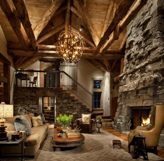 Landhausstil Einrichtung mit Steinoptik Wand, Sofa, Sessel und Couchtisch