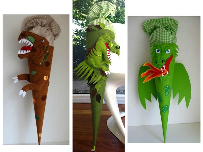 drei bilder mit diy schultüten mit zwei dinosaurien und einem grünen drachen mit zwei grünen flügeln - eine schultüte selber basteln