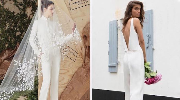 damen overall trendy ideen zum nachstylen zwei models zeigen schöne modelle von brautmode