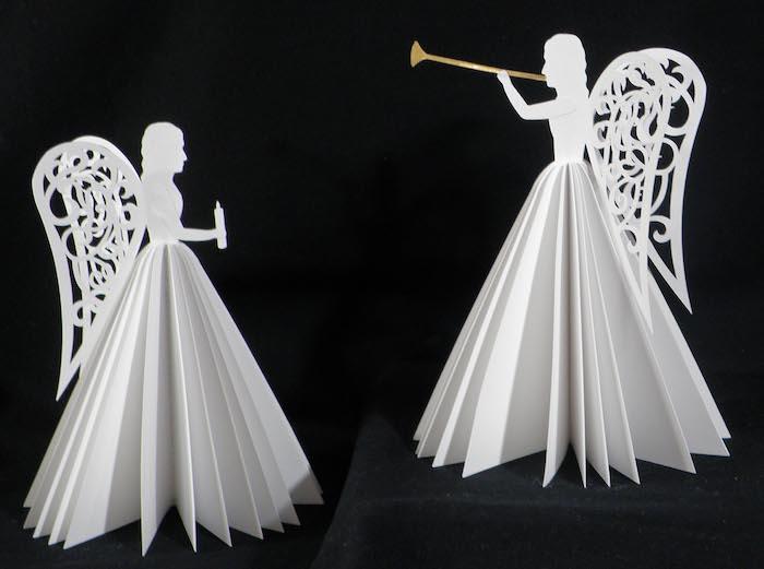 ein bild mit zwei weißen engeln aus papier - engel mit weißen flügeln und weißen kleidern aus papier engel basteln aus papier