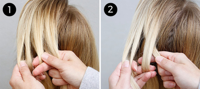 coole frisuren zum selbermachen, blonde glatte haare flechten, zopf flechten