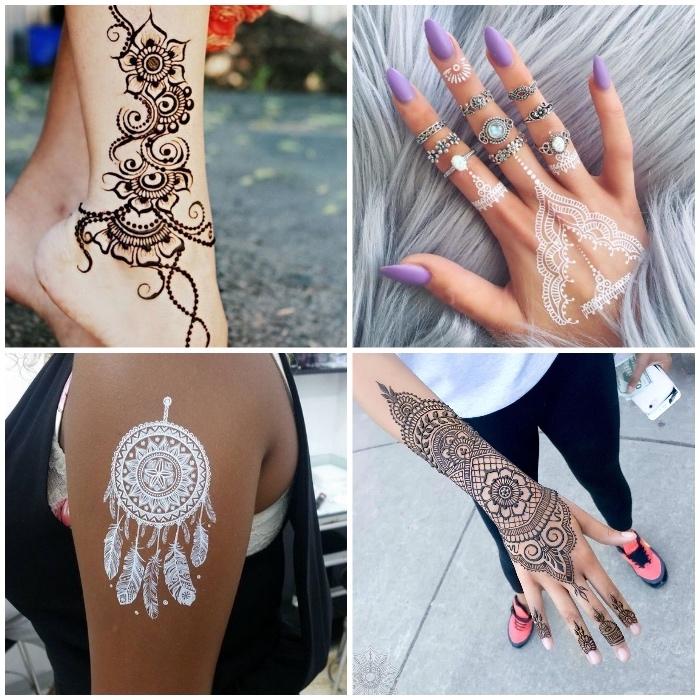 weißes henna, temporäre tätowierungen mit braunem und weißem henna, traumfänger an der shchulter