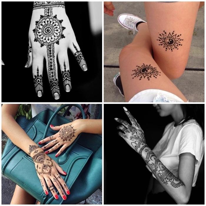 tattoo selber machen, frauen mit temporären tätowierungen, roter nagellack, große grüne tasche