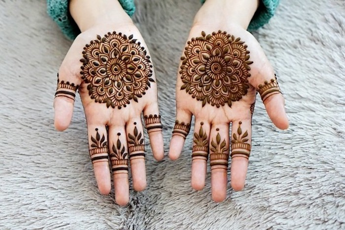 tattoo selber machen, temporäre tattoos mit indischen motiven, tätowierungen mit blumen-motiv