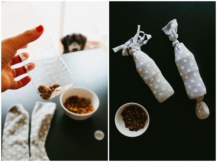spielzeug hund, basteln mit plastikflschen, flasche mit hundefutter füllen, alte söcke