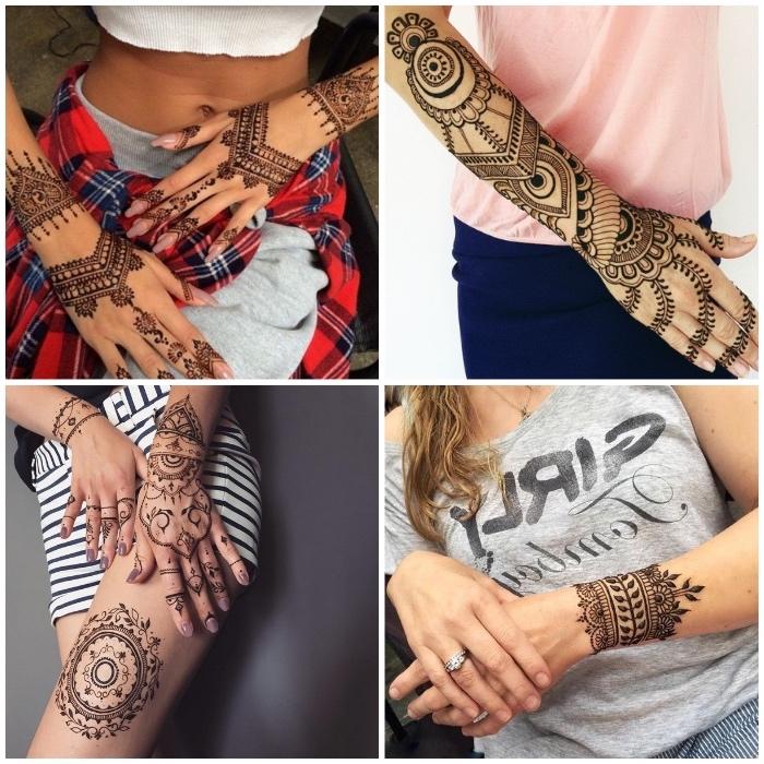 henna bilder, temporäre tätowierungen mit braunem henna, tattoo am unterarm