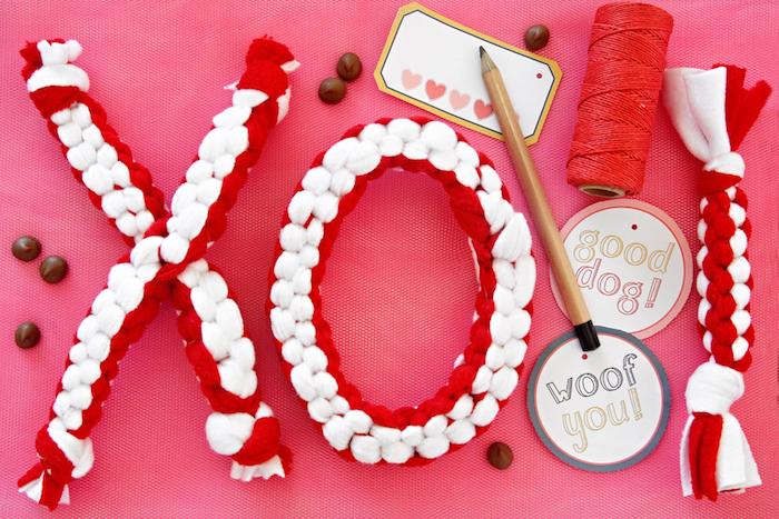 hundespielzeug für große hunde, weihnachtsgeschenke, kauspielzeug aus rotem und weißem stoff
