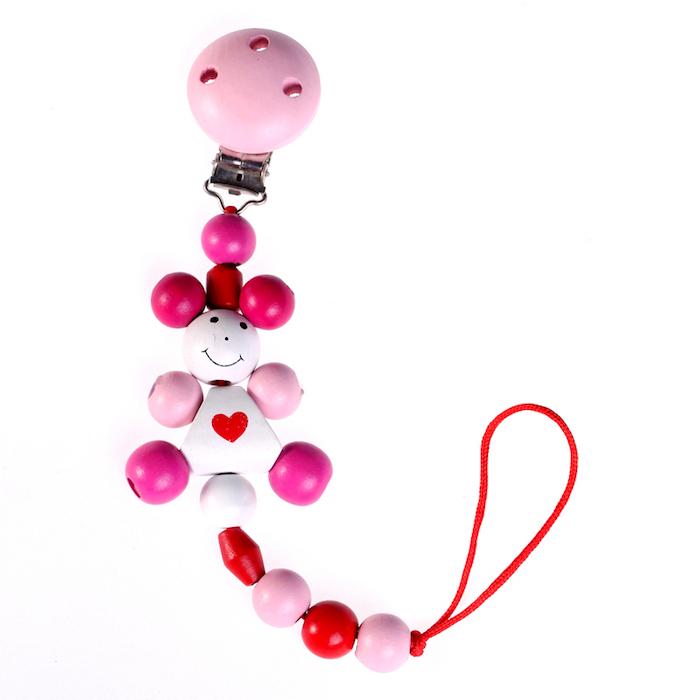 schnullerketten zubehör, schnullerkette aus rosa silikonperlen, kleines mädchen, puppe