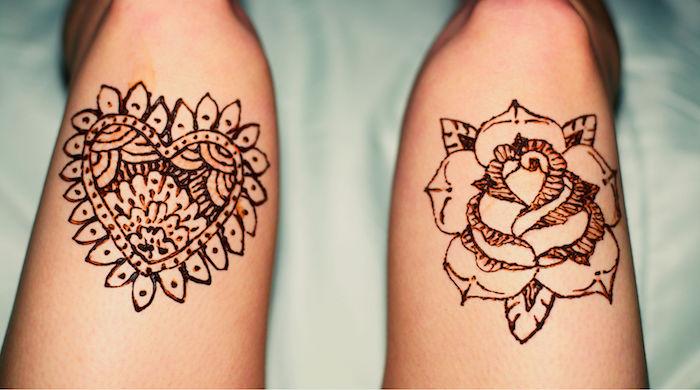tattoo selber machen, einfache mehndi-muster, herz und rose an den beinen