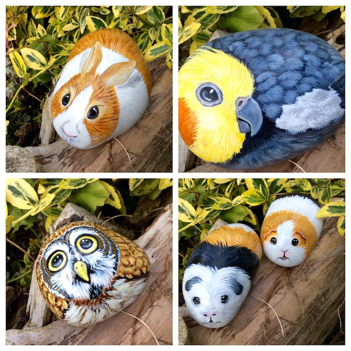 vier bilder mit wilden tieren, kleine steile bemalen, eine hase, eine eule mit gelben augen und braunen federn, ei vogel mit blauen federn, eine eule malen