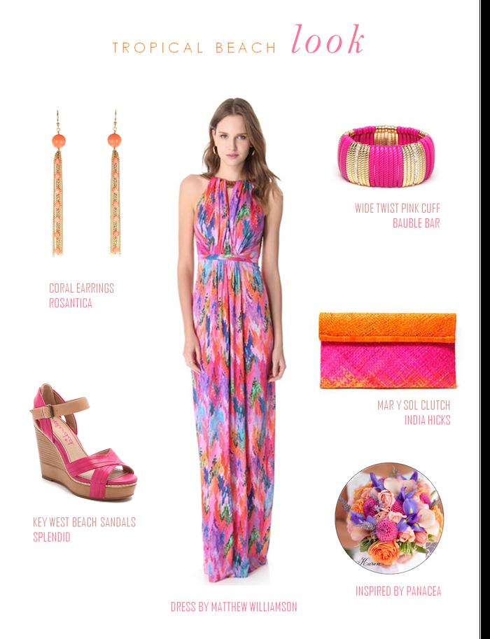 elegante damen mode hochzeitskleider gast bunte farben am kleid und an den accessoires sommer hochzeit am strand