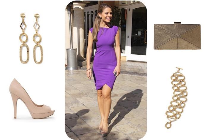 hochzeitsoutfit in violett mit goldenen oder beigen accessoires kombinieren ohrringe