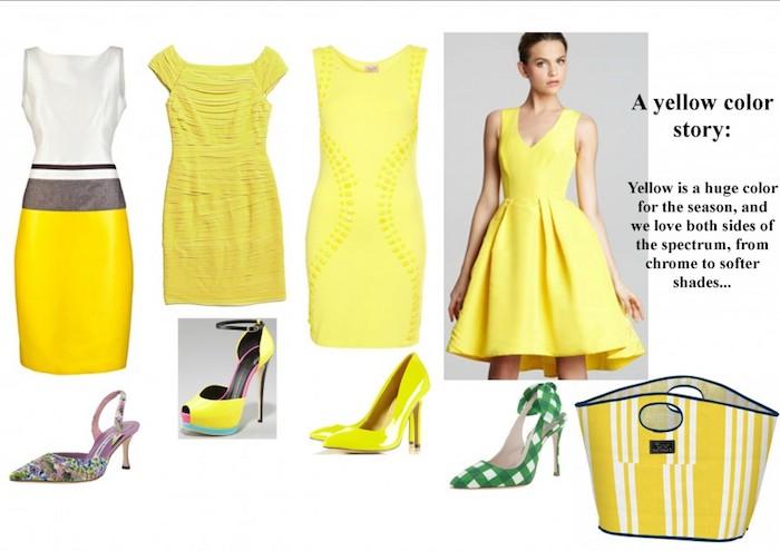 hochzeitsoutfit ideen in gelber farbe kleider kurzes kleid für hochzeitsgast absatzschuhe modelle