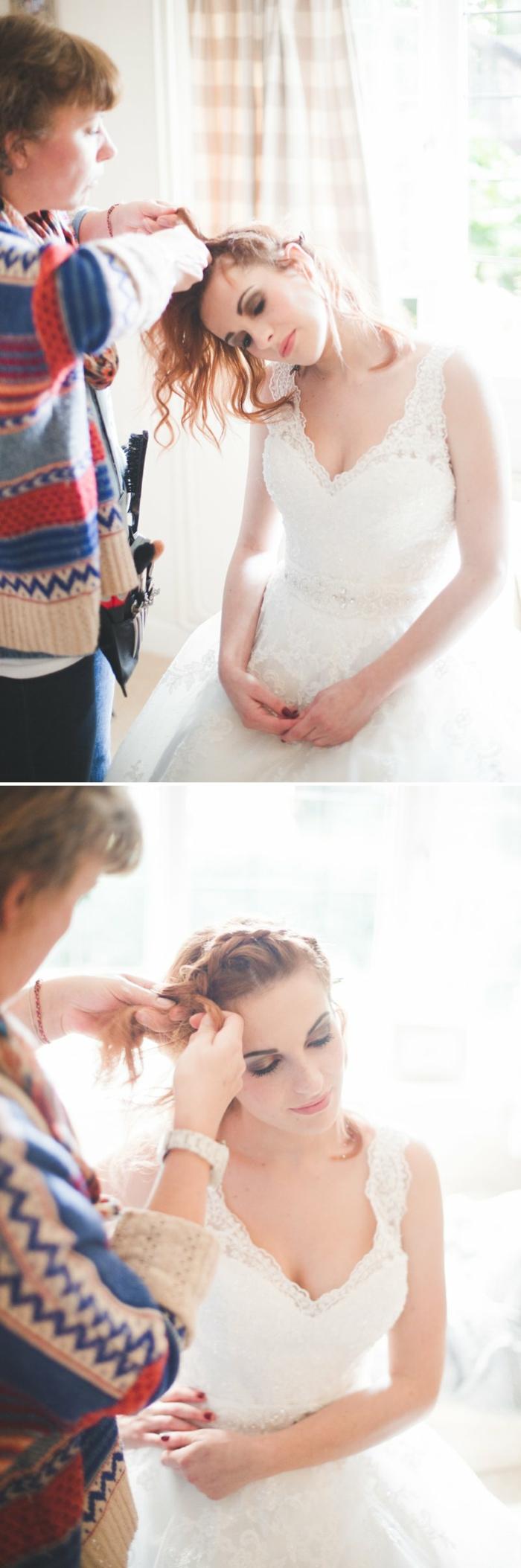 einzigartige Flechtfrisuren Hochzeit, zwei Fotos von einem Mädchen mit rotem Haar