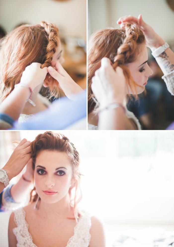 drei Schritte, wie diese schöne Frisur zu vollenden, Flechtfrisuren Hochzeit