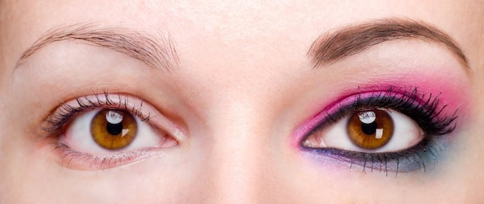 Make-up für braune Augen, Lidstrich und schwarze Mascara, verschiedene Lidschatten kombinieren