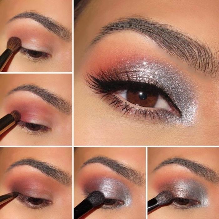 Augen Make-up in zarten Nuancen, Anleitung in fünf Schriften, Glitzer-Lidschatten und schwarze Mascara