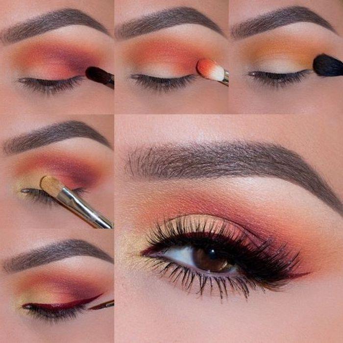 Augen Make-up in fünf Schritten, Lidschatten in zarten Nuancen und schwarze Mascara