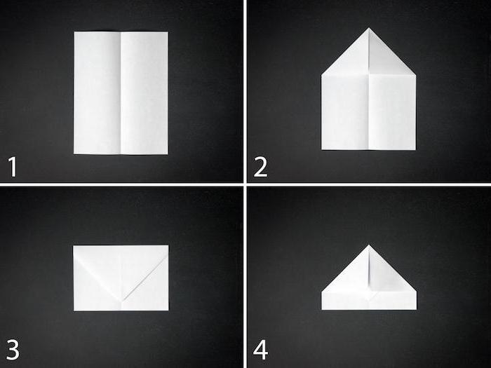 bastelideen mit papier, eine schritt-für-schritt anleitung papierflieger, diy anleitung in vier schritten
