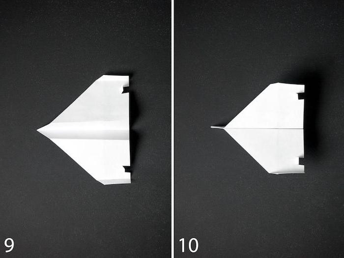 ein schwarzer tisch und ein kleiner weißer papierflieger, ein teil einer diy schritt für schritt papierfleger anleitung