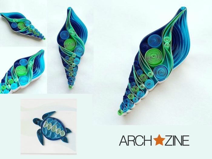 eine kleine blaue quilling schildkröte aus blauen papierstreifen, quilling set, bastelideen mit papier