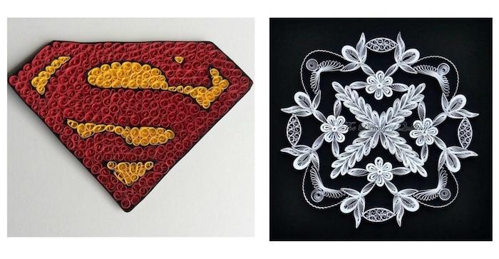 logo von superman, ein bild mit vielen weißen quilling blumen, basteln mit papierstreifen