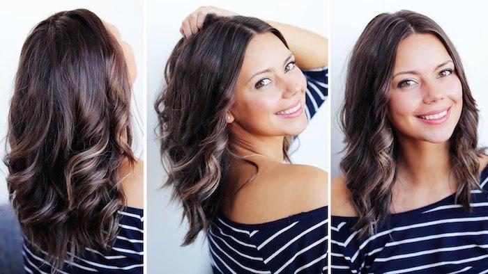 große locken in den haaren selber machen, zufriedene frau, schöne frisur, schwarzweiße bluse