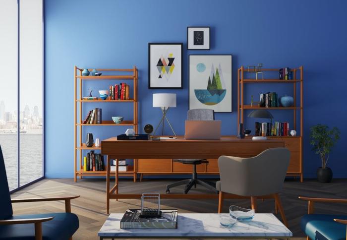 blaue Wohnwand Ideen für eine gemütliche Einrichtung, abstrakte Bilder und Regale