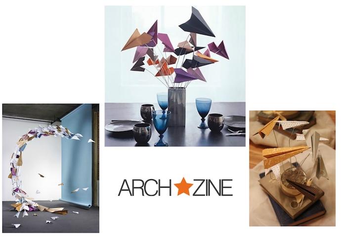drei bilder mit diy papierfliegern, kleine schwarze und blaue gläser, violette, gelbe, orange und weiße papierflieger falten