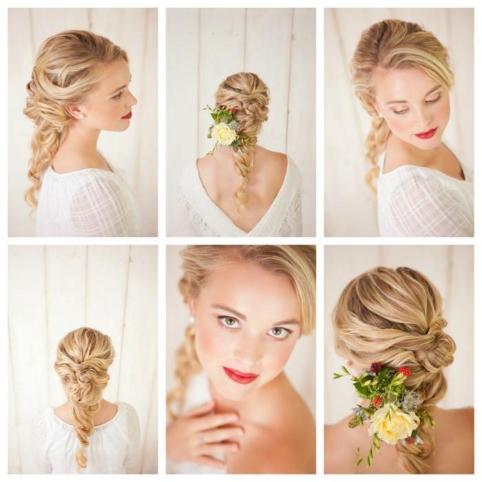 sechs Fotos von einer blonden Frau, Flechtfrisuren Hochzeit, Blumen verschönert die Frisur
