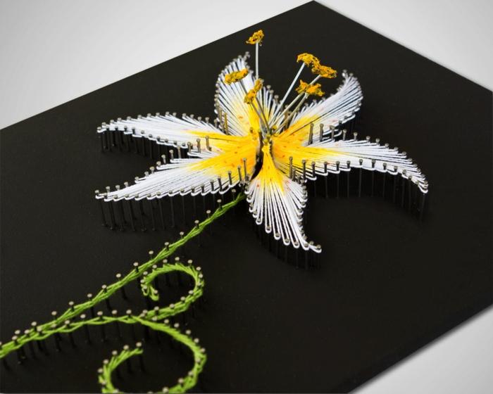 3D Fadenbilder von Blumen, eine weiße Blume, mit grüner Stiel und gelbe Inneren