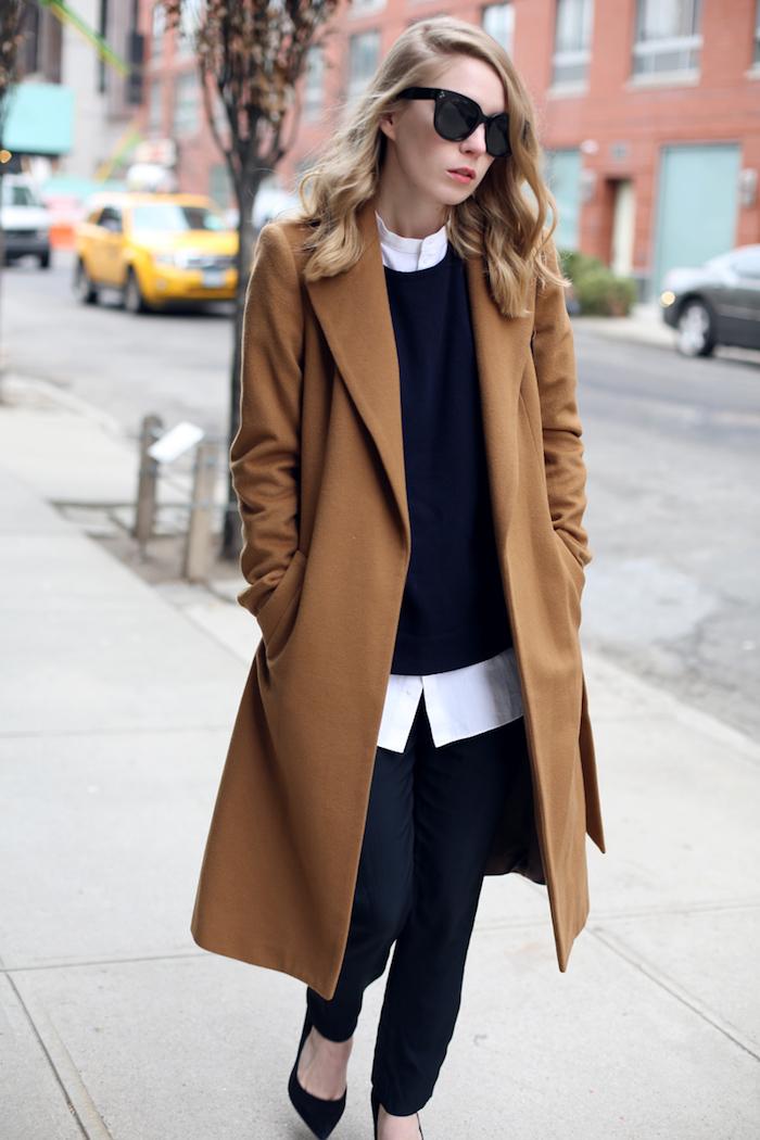 büro outfit frauen, weißes hemd kombiniert mit schwarzer gestrickter bluse, jeans