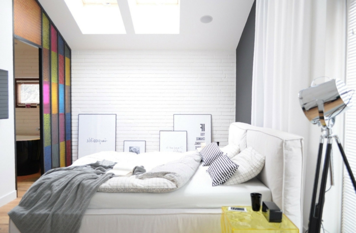 wie diese Raumteiler Ideen von innen aussehen, ein weißes Schlafzimmer