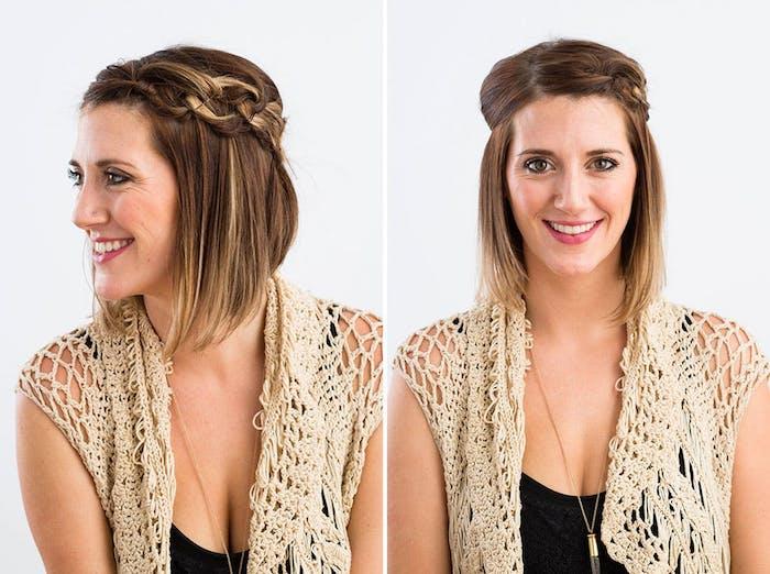 coole frisuren für schulterlange haare, braune haare mit blonden strähnen, flechfisuren