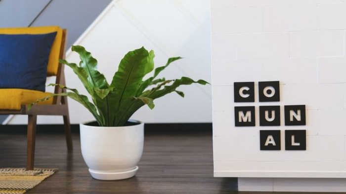 eine weiße Wohnwand Ideen zur Dekoration, ein Logo mit schwarzen Buchstaben