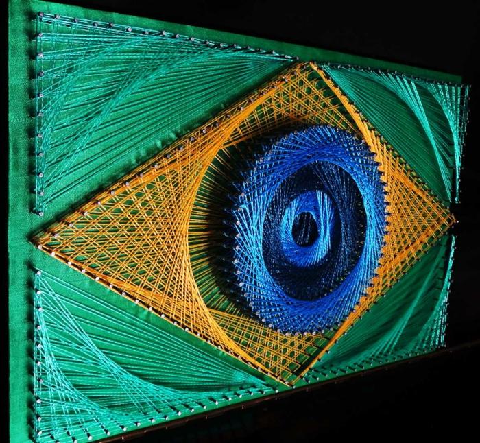 Abstrakte String Art Vorlage in grüner Farbe, wie ein blaues Auge mit Gelb umgeben